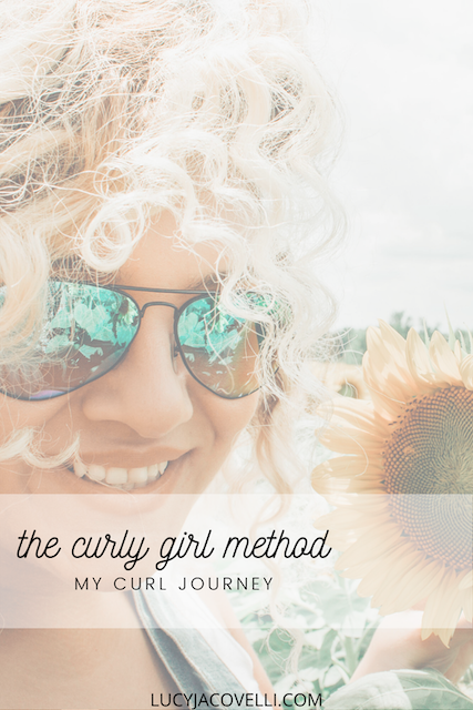 curly haired girl with the caption the curly girl method, my curl journey