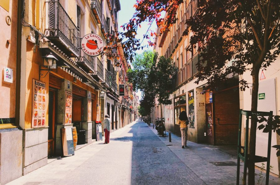 wide street in madrid spain sunny day